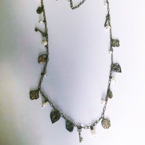 Jewelry - Pearl and Aged Gold Charm Necklace